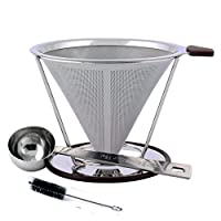 iNeibo Stainless Steel Coffee Dripper - Reusable Pour Over Filter Cone - Coffee Maker/Coffee Filter/Coffee Strainer with Clever Double Layer Fine Mesh Design Bonus Tube Brush and Coffee Scoop
