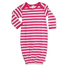Zutano Baby-girls Infant Primary Stripe Gown, Fuchsia/White, 6 Months