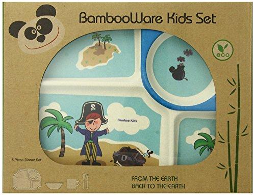 EcoBamboo Ware Kids Bamboo Dinnerware Set, Blue Pirate