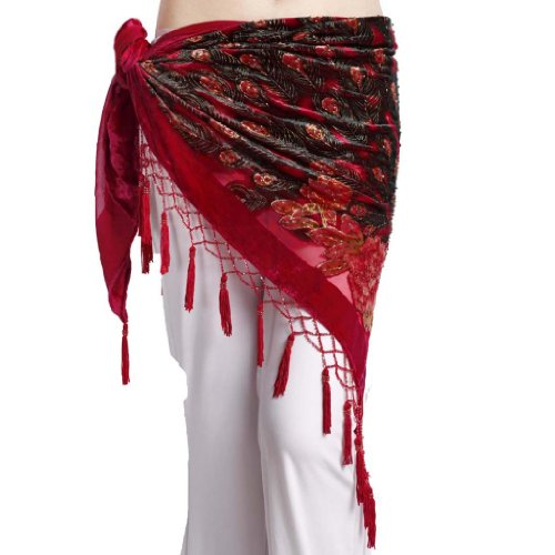 ZLTdream Women's Belly Dance Trangular Hip Scarf Grade Velvet