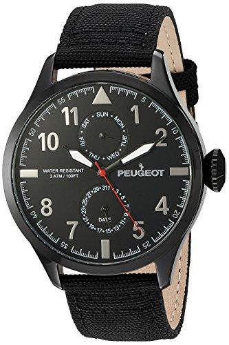 peugeot-hombre-negro-nylon-dia-fecha-calendario-aviator-reloj