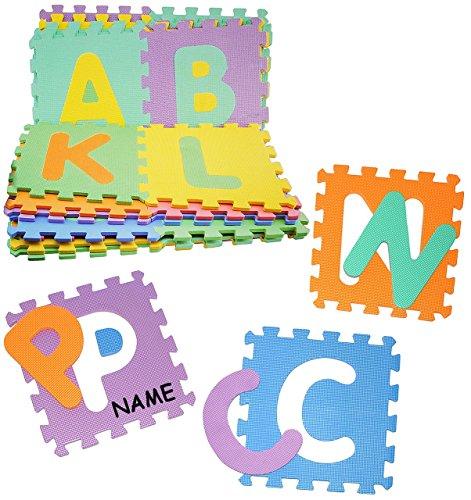 XL Set: Puzzle Teppich aus Mossgummi - 26 Matten & Buchstaben ABC A-Z - incl. Name - zum puzzeln / Puzzleteppich EVA - Spieleteppich Puzzlematte - Spielmatte Kinderteppich - Bodenmatte - Matte / Spielteppich - für Kinder - Puzzleteppich - Kinderspielteppich / Lernteppich - Schaumstoff / Bodenschutzmatte - Alphabet / Buchstabe lesen lernen
