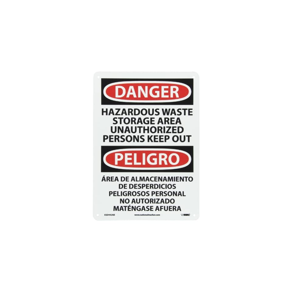 NMC ESD442AB Bilingual OSHA Sign, Legend DANGER   HAZARDOUS WASTE STORAGE AREA UNAUTHORIZED PERSONS KEEP OUT, 10 Length x 14 Height, 0.040 Aluminum, Black/Red on White
