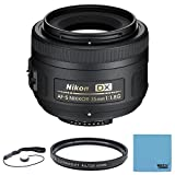 Nikon 35mm f 1.8G AF-S DX Lens for Nikon Digital SLR Cameras 2183 with 52mm Multicoated UV Protective Filter