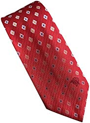 Versace Made In Italy Red Patterned 100% Silk Men's Tie