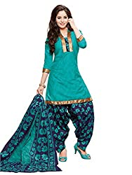 PShopee Green & Navy Blue Cotton Printed Unstitched Patiala Salwar Suit Material