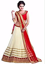 Clickedia Womens and Girls Net lehenga Material (Off White & Red Free Size)