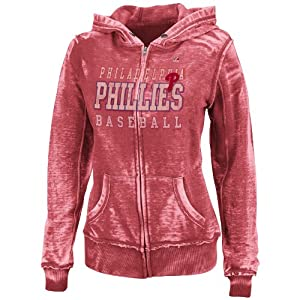MLB Philadelphia Phillies Washed Athletic Red Heather Long Sleeve Full Zip Hood... by Majestic