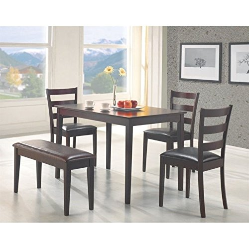 coaster-5pc-dining-table-chairs-bench-set-cappuccino-finish