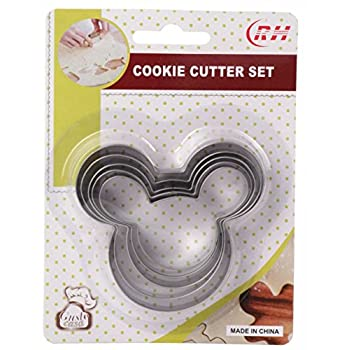 Home Value Mickey Mouse Face Shape Cookie Cutter, 5pc Set (COOKIECUTYPRHB2001) Silver by Value Home