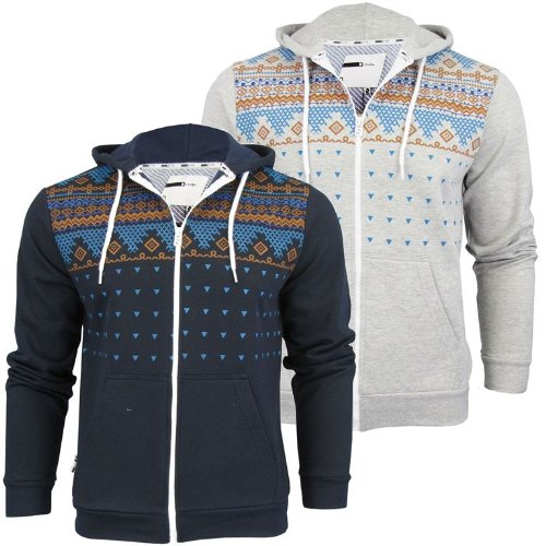 Mens D-Code 'Lewis' Aztec Hoodie/ Hooded Sweater Jumper [Medium]