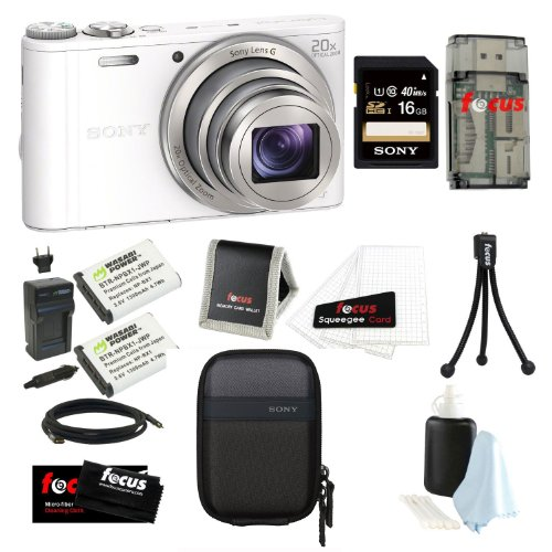 Sony DSC-WX300/W 18 MP Digital Camera with 20x Optical Image Stabilized Zoom and 3-Inch LCD (White) + Sony 16GB SDHC Memory Card + Sony Camera Case + Accessory Kit