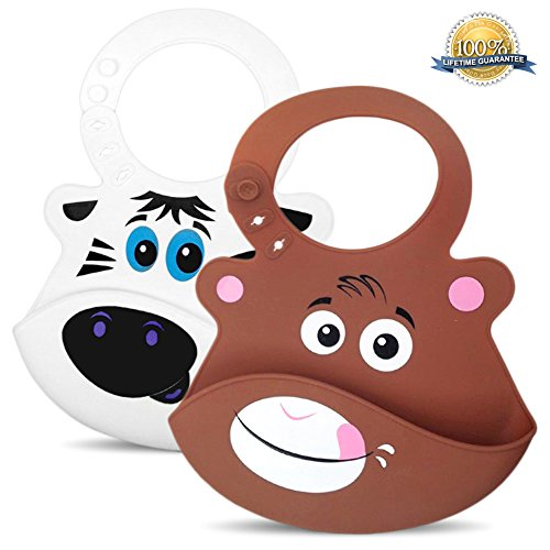 bibimals-baby-bibs-zoo-pack-button-latch-better-for-long-hair-funny-cool-cute-2-pack-of-bibs-with-fo