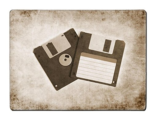 Luxlady Placemat IMAGE ID 31489399 two old floppy disks on textured background sepia retro vintage