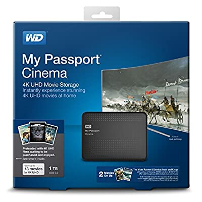 Western Digital WD My Passport Cinema 1TB, 4K UHD Preloaded Movie Storage (WDBZKS0010BBK-NESN)