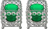 Zayn D Crystal Votive Candle Holder (7.5 cm x 7.5 cm x 16 cm, Green)