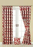 Kingsley red tape top pair of curtains 90