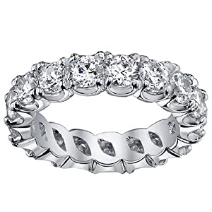 4.00 CT TW Brilliant Cut Diamond Eternity Ring in Split Prong Platinum Setting - Size 5.5
