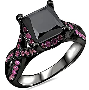 2.50ct Black Princess Cut Diamond Pink Sapphire Engagement Ring 18k Black Gold Rhodium Plating Over White Gold