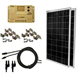 WindyNation 200 Watt (2pcs 100 Watt) Solar Panel Complete Off-Grid RV Boat Kit with LCD PWM Charge Controller + Solar Cable + MC4 Connectors + Mounting Brackets
