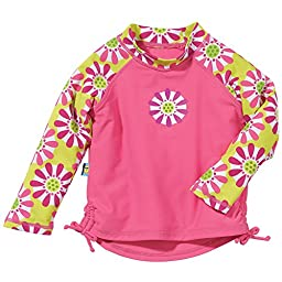 Pink Floral Baby Girl Long Sleeve Rashguards, Sun Smarties, Daisy, 18 Mo.