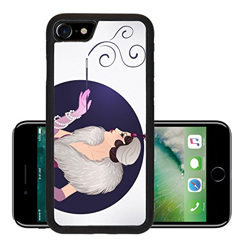 [Luxlady Premium Apple iPhone 7 iPhone7 Aluminum Backplate Bumper Snap Case IMAGE ID 43448466 Flapper girl Retro party invitation design template Vector] (1920s Flapper Hairstyles)