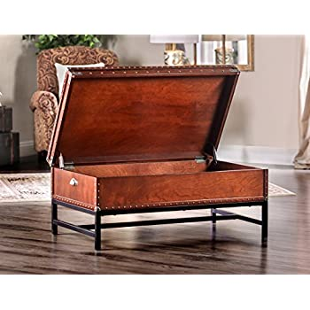 cherry furniture of america cassone trunk style coffee table cherry