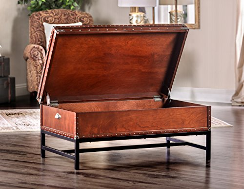 Furniture of America Cassone Contemporary Trunk Style Coffee Table, Cherry 2