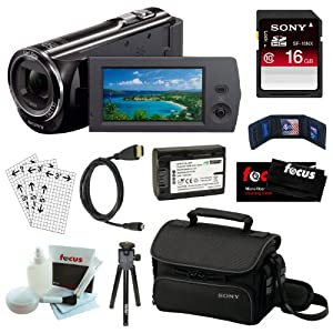 Sony HDr-cx290 8gb Embedded Memory HD Handycam Camcorder With 27x Optical/ 50x Extended Zoom And 2.7-inch Lcd Screen In Black + Sony 16gb Sdhc + Wasabi Np-fv50 Battery + Micro HDmi Cable + Sony Carrying Case + Accessory Kit