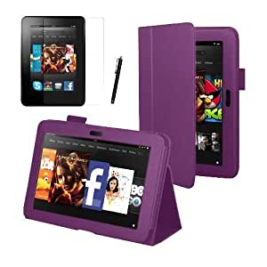 "Purple Executive Multi Function Standby Case for the Kindle Fire HD 7"" Tablet 16GB or 32GB with Built-in Magnet for Sleep / Wake Feature + Screen Protector + Capacitive Stylus Pen"