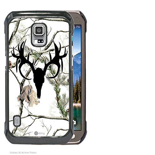 Accy Cases - Real Tree Snow White Black Buck Camo Samsung Galaxy S5 Active Cell Phone Case