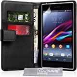 Yousave Sony Xperia Z1 Case Black PU Leather Wallet Cover