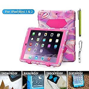 Aceguarder Apple Ipad Mini 1&2&3 Case Waterproof Rainproof Shockproof Kids Proof Case for Ipad Mini 2 Mini 1&2(gifts Outdoor Carabiner + Whistle + Handwritten Touch Pen)