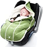 Wallaboo Footmuff Faux Suede and Soft Sheerling, for Newborn up to 12 Months, Lime Green
