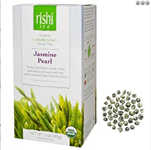 Rishi Tea Organic Jasmine Pearl Loose Leaf Tea, 3 Ounce Box (Pack of 2)