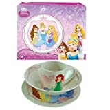 Disney Princess Childrens Porcelain 3 Piece Dinnerware Set - Plate, Bowl, Mug