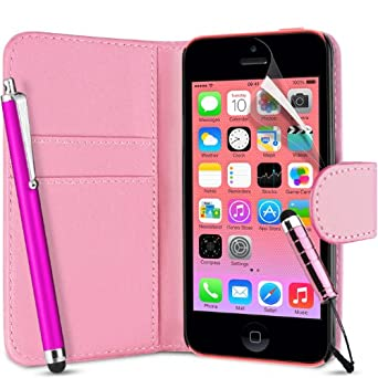 Supergets® Flip Pocket PU Leather Case Cover For Apple Iphone 5C / 5 C+ Screen Protector , Touch Screen Stylus and Polishing Cloth Baby Pink ( Not compatible with Iphone 5 , 5S , IP4 )