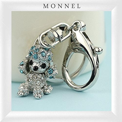 Z646C Hot Sale Blue 3D Crystal Poodle Puppy Dog Keychain With Clasp (Crystal Dog Keychain compare prices)