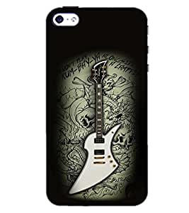 PrintDhaba GUITAR D-6602 Back Case Cover for APPLE IPHONE 4 (Multi-Coloured)