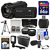 Panasonic HC-VX870 4K Ultra HD Wi-Fi Video Camera Camcorder with 64GB Card + Hard Case + LED Light + Microphone + Tripod + Tele/Wide Lens Kit