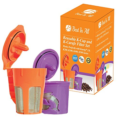 Best Ever Reusable K Cup and K Carafe for Keurig 2.0 - K200, K300, K400, K500 Series. Perfectly designed premium quality coffee filter set from Best In All (Kcups Carafe Decaf compare prices)