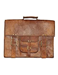 """HLC-(Handmade Leather Craft) 13"""" Real Leather Messenger Cross Body Satchel Brown Bag Briefcase VI"""
