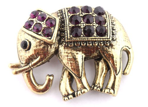 Ladies Gold with Purple Iced Out Elephant Style Safety Pin Brooch & Pin Pendant