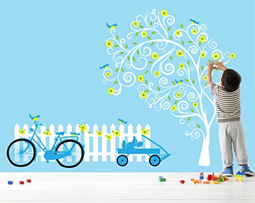 Picket Fence Wall Decal - Vinyl Floral Tree Decal - Vintage Bike Decal
