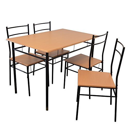 Harbour Housewares 5 Piece Kitchen Dining Table & Chairs Set – schwarz