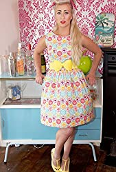 1950s Style Pink Pop Soda Print Ladies Dress - Silly Old Sea Dog - - Size 8