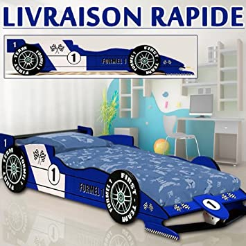 lit enfant voiture f1 racer bleu lit enfant garcon auto chambre. Black Bedroom Furniture Sets. Home Design Ideas