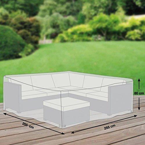 Premium Schutzhülle für Eck-Loungegruppe aus Polyester Oxford 600D – lichtgrau – von 'mehr Garten' – Größe L (255 x 255 cm)