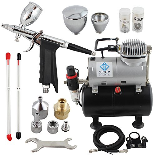 OPHIR Professional Airbrush Kit 0.3 0.5 0.8mm Detail Touch-Up Auto Paint 110V Air Compressor Tank for Hobby