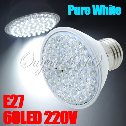 E27 60 Led Blanc Pure White 212Lm 3W 120° Luminaire Lampe Ampoule Bulb Spot 220V
